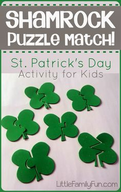 Shamrock Puzzle Match. SO easy to make!! Kids will LOVE this activity for St. Patricks Day!