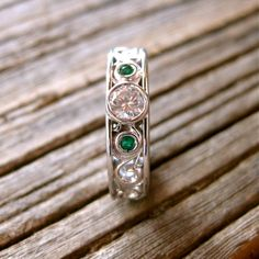 Vintage Style Hand Made Diamond and Emerald Engagement or Wedding Ring in 14K White Gold with Scroll Work Size 6/5mm