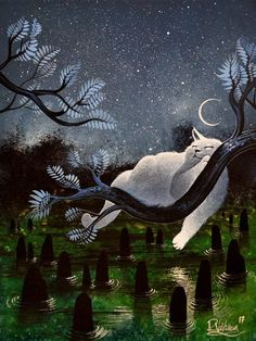 """Sleep under the moon"" Original painting by Raphaël Vavasseur art Original painting: http://ift.tt/2pWS0FQ Fine art prints: http://ift.tt/2qILlfF"