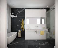 grey, yellow and white bathroom