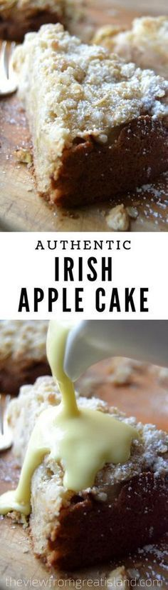 This is an authentic old fashioned Irish apple cake, the kind that would be made throughout the apple harvest season all over Ireland, where every farmhouse has its own prized version of the recipe. Best Dessert Recipes, Fun Desserts, Sweet Recipes, Delicious Desserts, Cake Recipes, Irish Desserts, Scottish Recipes, Irish Recipes, Apple Recipes