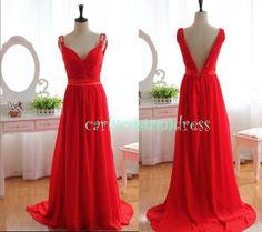 Long Red Prom Dress/Long Beaded Bridesmaid Dress/Peach Red Black Chiffon Evening Dress/Homecoming Dress/Graduation Dress/Formal Dress