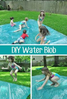 """DIY Water Blob This is better than a slip n' slide! Although it's """"water play"""", it's completely dry (unless you add water to the top). I can image it gets pretty warm towards the end of the day, so it could even be fun on a cooler spring day. Maybe even fill it with a bit of glitter and/or food coloring!"""