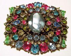 """Hollycraft Brooch Pin Signed Pastel Fruit Salad Rhinestones Gold Cast Metal 1950 2"""" Designer Vintage"""