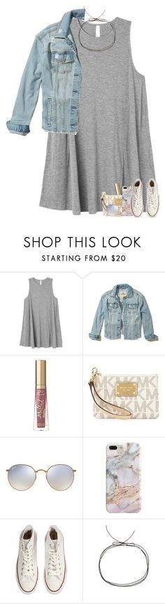 """so tired of misconceiving"" by madelinelurene ❤ liked on Polyvore featuring RVCA, Hollister Co., MICHAEL Michael Kors, Ray-Ban, Recover, Converse and Cloverpost"