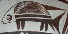 """Mimbres fishes 9.5"""" x 4.5"""" -2"""