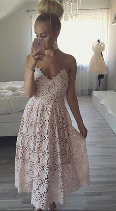 pink lace homecoming dress, 2017 homecoming dress, straps short pink lace homecoming dress