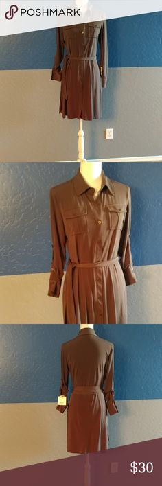 "🆕 Liz Claiborne Dress Beautiful Olive Green Dress Long Sleeve  36"" Bust 35"" Length  Polyester Spandex  Bundle and Save Liz Claiborne Dresses"