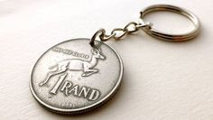 Coin keychain South African Antelope Gazelle Mens by CoinStories African Antelope, Euro Coins, World Coins, Drawstring Pouch, Coin Jewelry, Beautiful Hands, Gifts For Him, Personalized Items, Handmade