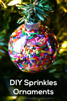 Christmas DIY sprinkle ornament for holiday decorating