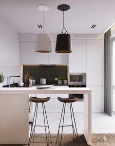 Белая кухня с барной стойкой под потолок. Ручки выполнены в виде профиля.