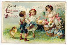 Vintage Easter Postcard U s Clapsaddle Children Buy Eggs Chick DB 1910 Emb | eBay