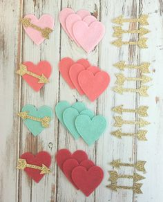 Wool Blend Felt Hearts with Gold Glitter by AMarketCollection