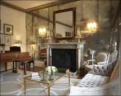 Decoration, Astonishing Antique Mirror Placed Above Traditional Fireplace In…