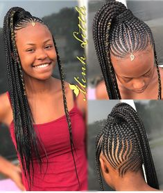 Small feed in ponytail ? Small feed in po Box Braids Hairstyles, Braided Ponytail Hairstyles, My Hairstyle, Updo, Cornrow Ponytail, Viking Hairstyles, Black Girl Braids, Braids For Black Hair, Braids For Kids