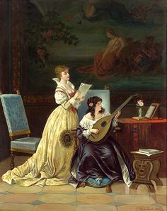 Two Women Making Music. Casimir van den Daele (Belgian, 1818-1880). Oil. Van den Daele's most common subjects were scenes from fine interiors, often depicting family members engaged in an activity....