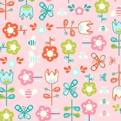 Sheet fabric for crib.  Girl Friday Floral Butterfly Pink