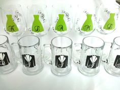6 Wedding party wine glasses and beer mugs, Personalized Bridesmaids gifts and Groomsmen gifts on Etsy, $72.00