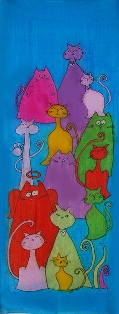 Hand painted Cat Lovers' Silk Scarf by iScarf on Etsy