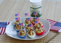 Most American Deviled Eggs Ever | Red white and blue amazingness featuring Toby's Jalapeno Ranch Dressing.