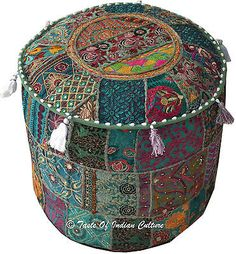 INDIAN-18-GREEN-ROUND-OTTOMAN-POUF-STOOL-CHAIR-TAPESTRY-MOROCCAN-X-MAS-GIFT