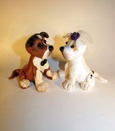 Custom Cake Topper Dog Pet American Bulldog Mix by FancypantsClay
