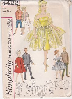 BARBIE VINTAGE PATTERN Immediate Download for Barbie & Ken from the late 1950's early 1960's makes 7 Complete Outfits from Simplicity 4422 $3.50 on Etsy.com shop name BARBIECLOTHESPATTERN