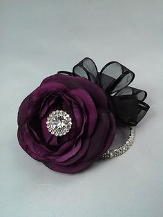 Plum and Black Corsage and Boutonniere Set-Wedding Prom Corsage And Boutonniere, Brooch Corsage, Flower Corsage, Corsage Wedding, Wrist Corsage, Corsages, Bridesmaid Corsage, Prom Flowers, Silk Flowers