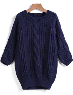 Blue Round Neck Cable Knit Sweater 24.33