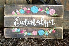 Rustic floral custom girl name sign, for nursery. Vintage Nursery Decor, Boho Nursery, Baby Room Decor, Nursery Décor, Little Mac, Boho Baby Shower, Baby Girl Names, Unique Baby, Thing 1