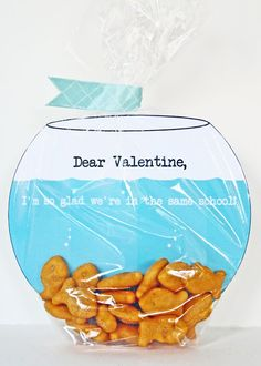 [Make] Fish Bowl Valentine's Card has a free printable! So cute and its candy free and hopefully peanut free!