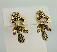 Vintage Gold Beaver 3D beaver EARlusion by celtictreasures on Etsy