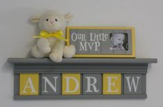 """Baby Boy Room Decoration Name Nursery Decor 24"""" Shelf Gray and 6 Wooden Wall Letters Yellow and Gray - ANDREW on Etsy, $48.00"""