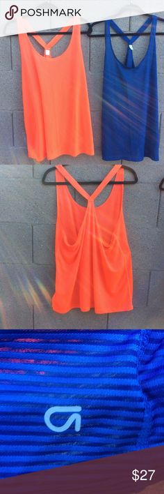 "2 Gapfit Cross back Tanks Bundle of 2 Gapfit Cross back Workout Tops. Great Condition. No Tears, no fading. Size XL Bust 21"" Length 30"" Stretchy Flowy Material. 100% Polyester  Blue and Orange GAP Tops"