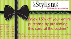 Grand Opening Special 15% Off. Just bring in the card!