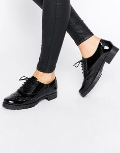 Image 1 ofOffice Foal Chunky Lace Up Leather Flat Shoes