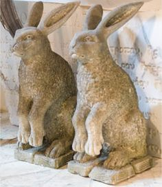 Pair of hare statues lovely weathered garden sculpture Rabbit Sculpture, Garden Sculpture, Some Bunny Loves You, Garden Whimsy, Rabbit Art, Bunny Art, Modern Sculpture, Garden Statues, Garden Ornaments