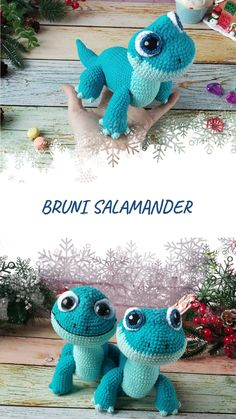 amigurumi tutorial Navy Blue Salamander is fun and adorable. Tis listing is only PATTERN not finished toy This crochet pattern is perfect if you'd like to make your own gift for li Crochet Animal Patterns, Stuffed Animal Patterns, Crochet Patterns Amigurumi, Crochet Dolls, Crochet Sloth, Giraffe Crochet, Crochet Animals, Crochet Gratis, Free Crochet