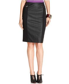 Ellen Tracy Skirt, Pleather Mixed Media Pencil - Women - Macy's