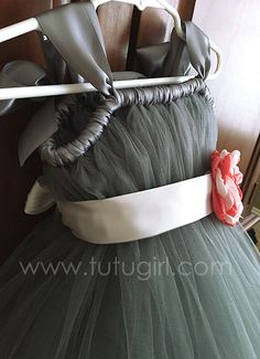 Gray Flower Girl Tutu Dress with Coral Sash