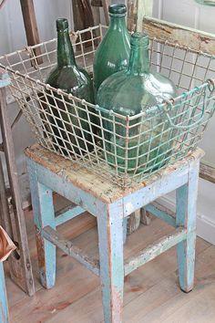 bottles.quenalbertini: Vintage bottles in a wire basket | Vibeke Design