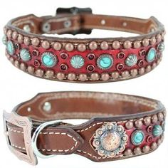 Sadie Western Leather Dog Collar A studded leather dog collar with embossed gator, Turquoise Stones, Turquoise Patina Spots, Siam Swarovski Crystals and antique silver conchos. Dog Collars & Leashes, Leather Dog Collars, Dog Leash, Plastic Dog House, Expensive Dogs, Cesar Millan, Collar And Leash, Studded Leather, Dog Accessories