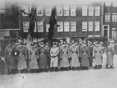 Amsterdam, Holland, Men in uniform standing in line during the first round-up, 22-23/02/1941
