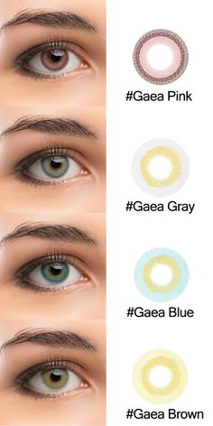colored eye contacts New Brand Colored Lenses Tolytolly . Gaea series has four 4 colors . Pink ,Gray ,Blue and brown. Eye Lens Colour, Color Lenses, Eye Contact Lenses, Lenses Eye, Eye Drawing Simple, Eye Color Chart, Colored Eye Contacts, Eye Close Up, Halloween Contacts