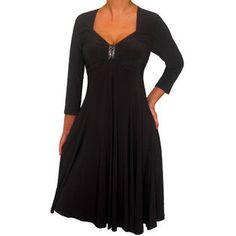 FUNFASH PLUS SIZE DRESS BLACK 3/4 SLEEVES EMPIRE WAIST PLUS SIZE COCKTAIL DRESS at Sears.com