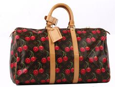 LOUIS VUITTON CERISES HOLDALL 45, date code for 2005, with Takashi Murakami cherry design on monogram canvas, tan leather trim and luggage tag, 45cm wide, 26cm high, with dust bag