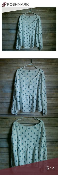 "Aero Boho Long Sleeve Shirt, Womans L SO CUTE ""designed in NYC""  No Flaws Great Pre-Owned Conditon! Aeropostale Tops"