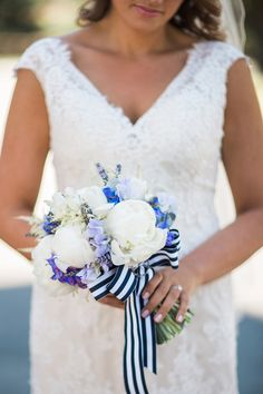 Nautical-inspired wedding bouquet idea - white + blue bouquet with sweet peas + peonies and white + blue ribbon {Michele Ashley Photography}