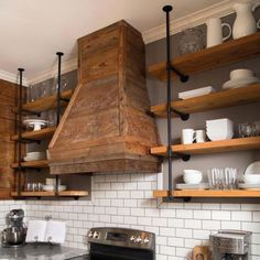 kitchen remodel ideas Tiered Industrial Shelves - Floating Shelves - Delirious by Design - Small: D x L - two tiered shelves Medium: D x L - two tiered shelves Large: D x L - three tiered shelves Home Decor Kitchen, Rustic Kitchen, Interior Design Kitchen, Home Kitchens, Diy Home Decor, Kitchen Ideas, Industrial Farmhouse, Farmhouse Design, Kitchen Designs