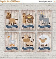 SPRING SALE 15% OFF Farm animal nursery decor Blue and by EllowDee